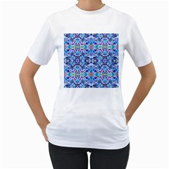 Elegant Turquoise Blue Flower Pattern Women s T Shirt (white) (two Sided) by Costasonlineshop