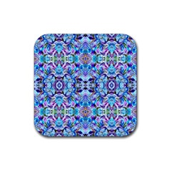 Elegant Turquoise Blue Flower Pattern Rubber Square Coaster (4 Pack)  by Costasonlineshop
