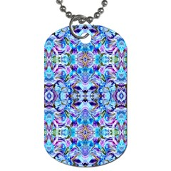 Elegant Turquoise Blue Flower Pattern Dog Tag (one Side) by Costasonlineshop