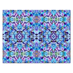 Elegant Turquoise Blue Flower Pattern Rectangular Jigsaw Puzzl by Costasonlineshop