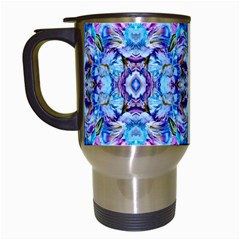 Elegant Turquoise Blue Flower Pattern Travel Mugs (white) by Costasonlineshop