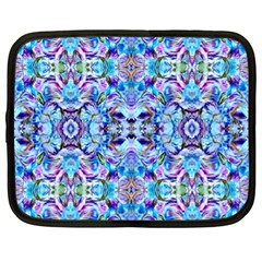 Elegant Turquoise Blue Flower Pattern Netbook Case (xl)  by Costasonlineshop