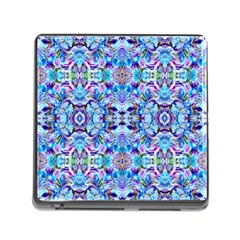 Elegant Turquoise Blue Flower Pattern Memory Card Reader (square) by Costasonlineshop