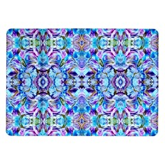 Elegant Turquoise Blue Flower Pattern Samsung Galaxy Tab 10 1  P7500 Flip Case by Costasonlineshop