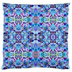 Elegant Turquoise Blue Flower Pattern Standard Flano Cushion Cases (one Side)  by Costasonlineshop