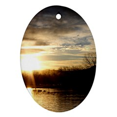 Setting Sun At Lake Oval Ornament (two Sides) by trendistuff