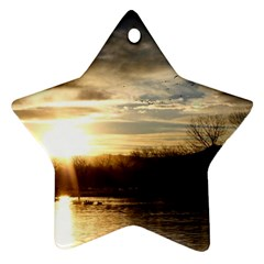 Setting Sun At Lake Star Ornament (two Sides)  by trendistuff