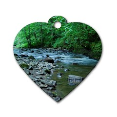 Rocky Stream Dog Tag Heart (two Sides) by trendistuff
