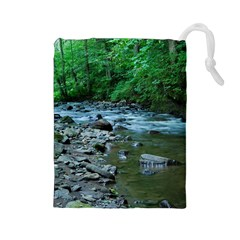 Rocky Stream Drawstring Pouches (large)  by trendistuff