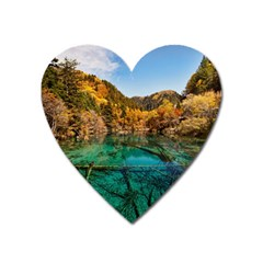 Jiuzhaigou Valley 1 Heart Magnet by trendistuff