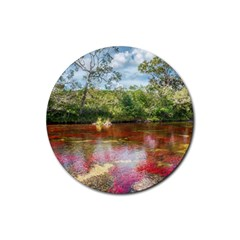 Cano Cristales 3 Rubber Round Coaster (4 Pack)  by trendistuff