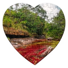 Cano Cristales 1 Jigsaw Puzzle (heart) by trendistuff