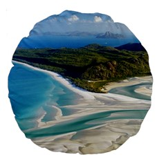 Whitehaven Beach 1 Large 18  Premium Round Cushions by trendistuff