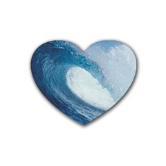 Ocean Wave 2 Rubber Coaster (heart)  by trendistuff