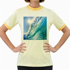 Ocean Wave 1 Women s Fitted Ringer T Shirts by trendistuff