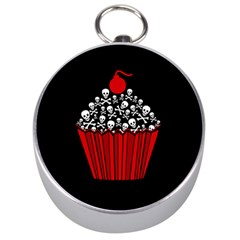 Skull Cupcake Silver Compass