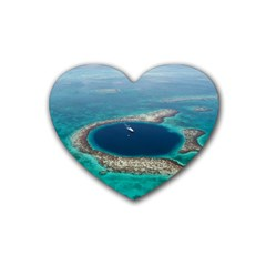 Great Blue Hole 1 Rubber Coaster (heart)  by trendistuff