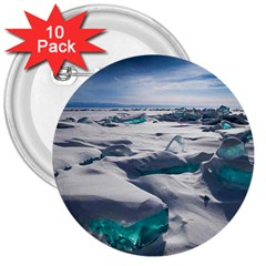 Turquoise Ice 3  Buttons (10 Pack)  by trendistuff