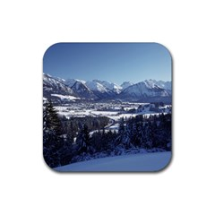 Snowy Mountains Rubber Coaster (square)  by trendistuff