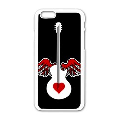 Flying Heart Guitar Apple Iphone 6/6s White Enamel Case
