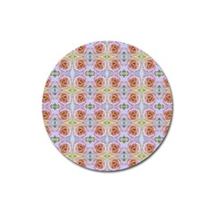 Pink Light Blue Pastel Flowers Magnet 3  (round) by Costasonlineshop