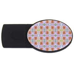 Pink Light Blue Pastel Flowers Usb Flash Drive Oval (2 Gb)  by Costasonlineshop