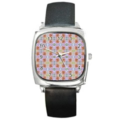 Pink Light Blue Pastel Flowers Square Metal Watches by Costasonlineshop