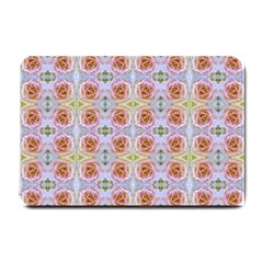 Pink Light Blue Pastel Flowers Small Doormat  by Costasonlineshop