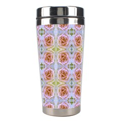 Pink Light Blue Pastel Flowers Stainless Steel Travel Tumblers by Costasonlineshop