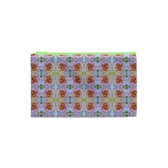 Pink Light Blue Pastel Flowers Cosmetic Bag (xs)