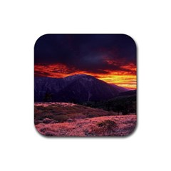 San Gabriel Mountain Sunset Rubber Coaster (square)  by trendistuff