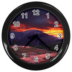 San Gabriel Mountain Sunset Wall Clocks (black) by trendistuff