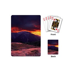 San Gabriel Mountain Sunset Playing Cards (mini)  by trendistuff