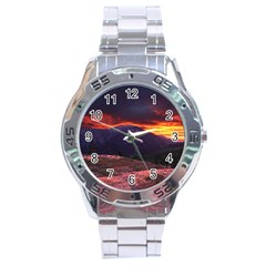 San Gabriel Mountain Sunset Stainless Steel Men s Watch by trendistuff