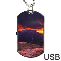 San Gabriel Mountain Sunset Dog Tag Usb Flash (one Side) by trendistuff