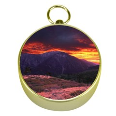 San Gabriel Mountain Sunset Gold Compasses by trendistuff