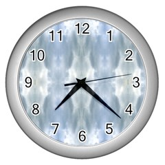 Ice Crystals Abstract Pattern Wall Clocks (silver)  by Costasonlineshop