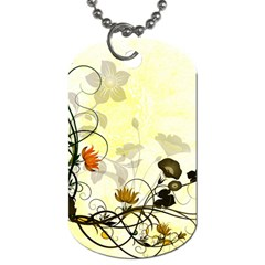 Wonderful Flowers With Leaves On Soft Background Dog Tag (two Sides)