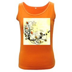 Wonderful Flowers With Leaves On Soft Background Women s Dark Tank Tops