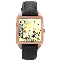 Wonderful Flowers With Leaves On Soft Background Rose Gold Watches by FantasyWorld7