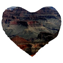 Grand Canyon 2 Large 19  Premium Flano Heart Shape Cushions by trendistuff