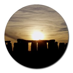 Sunset Stonehenge Round Mousepads by trendistuff