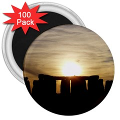 Sunset Stonehenge 3  Magnets (100 Pack) by trendistuff