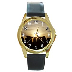 Sunset Stonehenge Round Gold Metal Watches by trendistuff