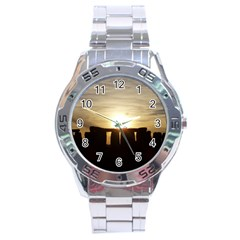 Sunset Stonehenge Stainless Steel Men s Watch by trendistuff