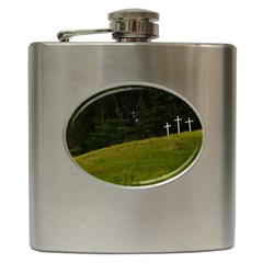 Three Crosses On A Hill Hip Flask (6 Oz) by trendistuff