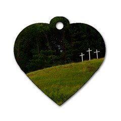 Three Crosses On A Hill Dog Tag Heart (one Side) by trendistuff