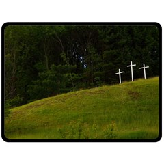 Three Crosses On A Hill Fleece Blanket (large)