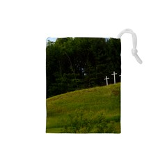 Three Crosses On A Hill Drawstring Pouches (small)  by trendistuff