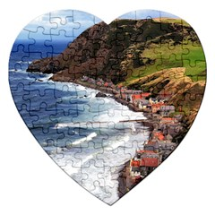 Scotland Crovie Jigsaw Puzzle (heart) by trendistuff